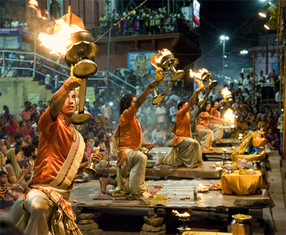 The evening 'art' or veneration at the ghats of Varanasi, an incredible spectacle