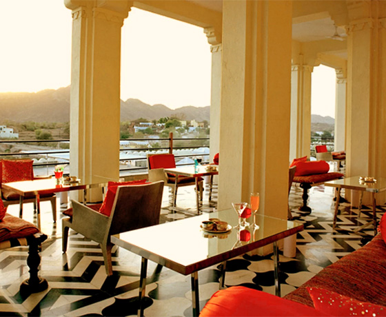 The terrace at Raas Devigarh overlooking rural Rajasthan. one of the best boutique hotels near Udaipur