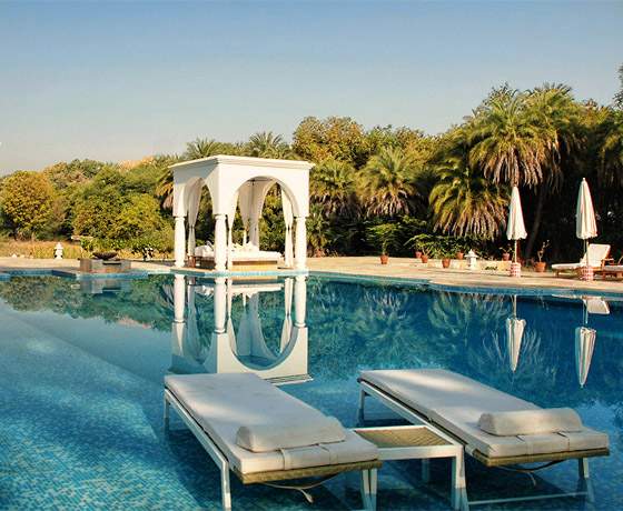 A calm oasis in the heart of rural Rajasthan: the swimming pool at family run Shahpura Bagh