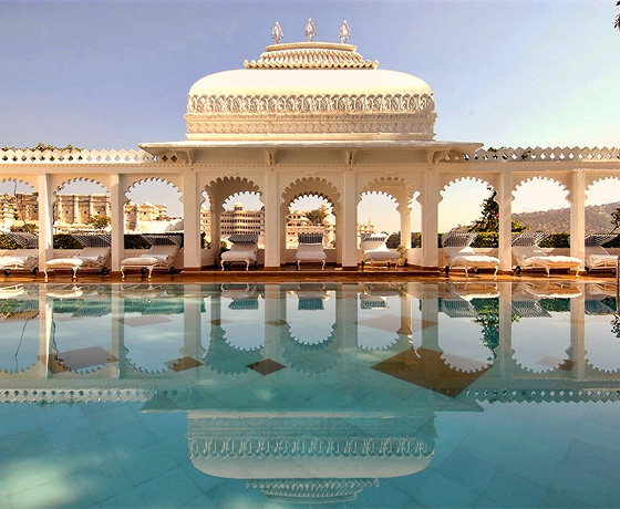The swimming pool and spa with a dazzling lake view at Taj Lake Palace, Udaipur
