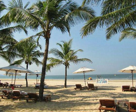 The private beach at The Leela, Goa