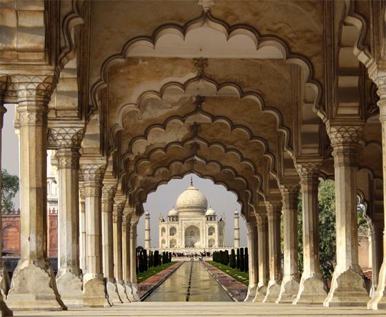 The iconic Taj Mahal, Agra through the arches