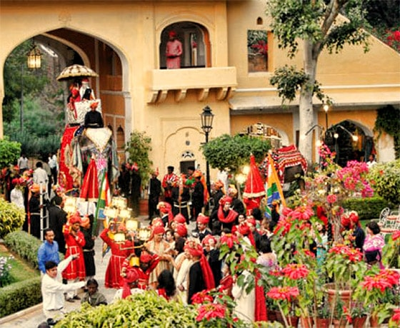 Wedding procession at Samode Bagh one of the many wedding venues in Rajasthan offered by us