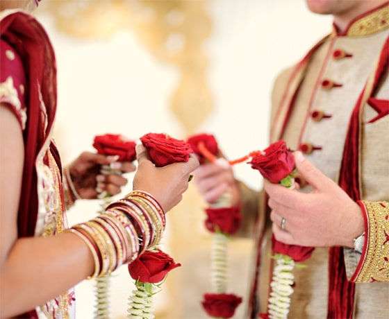 Traditional garland ceremony at an Indian wedding