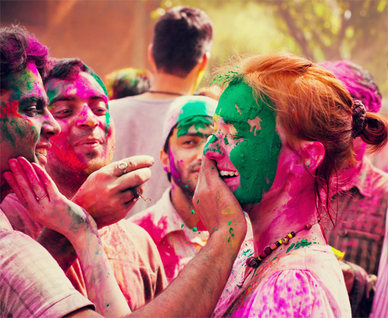 Playing Holi: the festival of color in March in Rajasthan