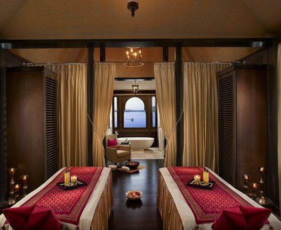 Spa and Wellness tours are one of our specialities: the spa at The Leela Udaipur overlooking Lake Pichola