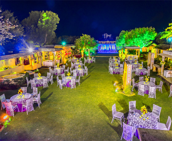 Wedding arrangements in a Rajasthani village setting, on the lawns of Skipper's County, Jaipur