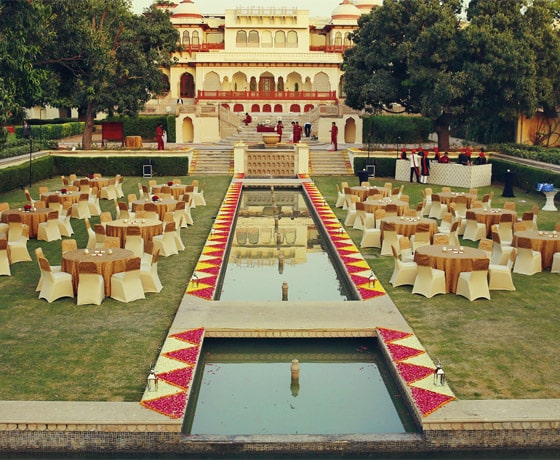 Conference dinner at the Rambagh Palace lawns, Jaipur: one of the best conference venues in Rajasthan